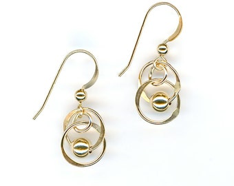 Small Gold Circle Gold Beaded Earrings Wire Jewelry Dangle Chainmaille Gold Wire Jewelry Gift