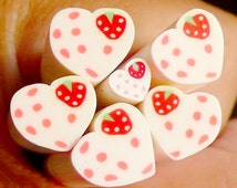 Heart w/ Strawberry Polymer Clay Cane Heart Fimo Cane (LARGE/BIG) Fake Miniature Cupcake Topper Dollhouse Cake Deco Scrapbooking BC56