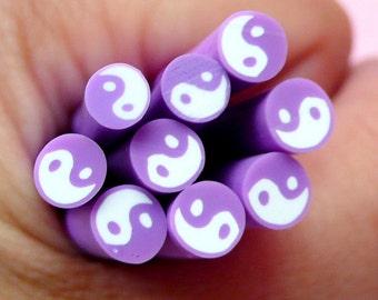 Yin Yang Polymer Clay Cane (Purple) Ying Yang Symbol Fimo Cane - Nail Art Nail Deco Scrapbooking Miniature DIY Jewelry Earring Making CE050