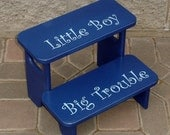 Boys Step Stool Little Boy ... Big Trouble - Step Stool in Navy Blue