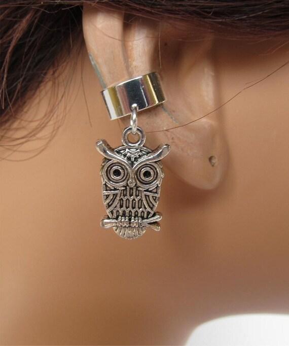 Owl Ear Cuff Antiqued Silver Non Pierced