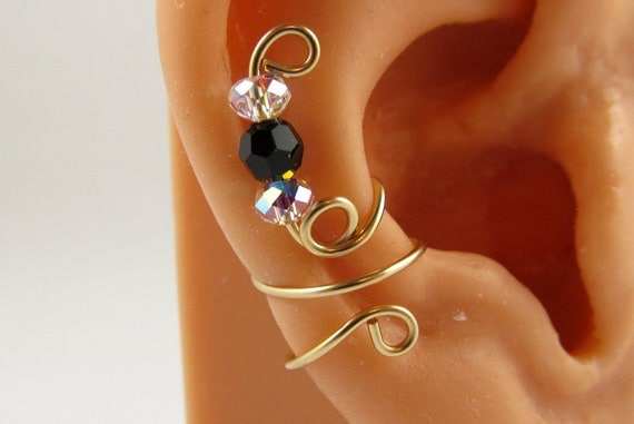 Cartilage Earring Gold Filled Ear Wrap Swarovski Jet and AB Crystals Ear Cuff