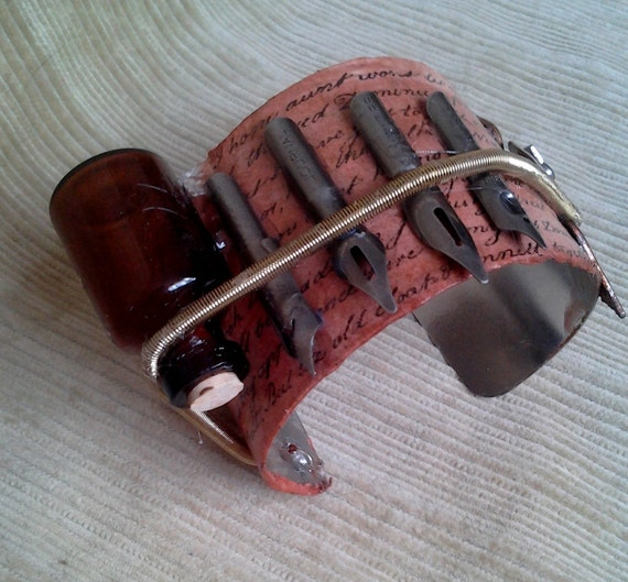 Writer's Pen and Ink Cuff, steam punk cuff device bracelet