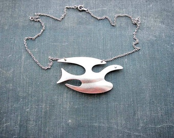 mid century dove necklace - bird in flight