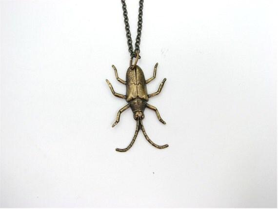 beetle bug necklace - halloween jewelry / entomology