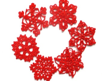 Crochet snowflakes ornaments - red holiday ornaments - Christmas tree decorations - red snowflakes applique - set of 6 ~3 inches