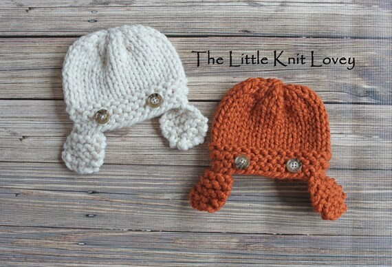 SALE- Twin Set of Little Knit Aviator Hats for Baby, Adorable Photography Prop, Choose Your Colors