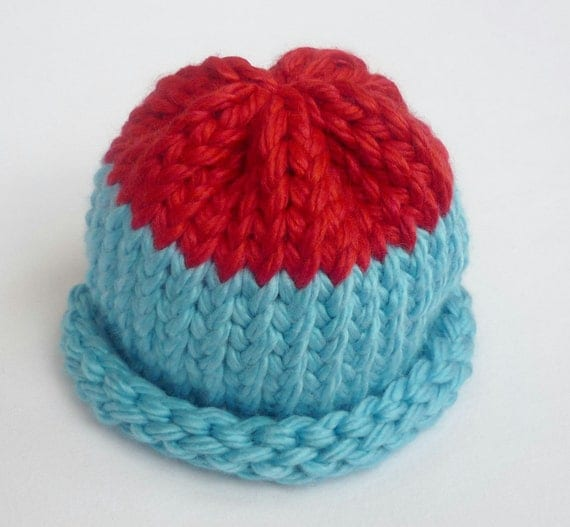Light Blue and Red Knit Baby Hat age 0-6 months