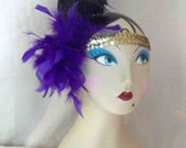 Broadway Baby Flapper Style Headpiece Purple and Black Feather with Gold Sequin Headband