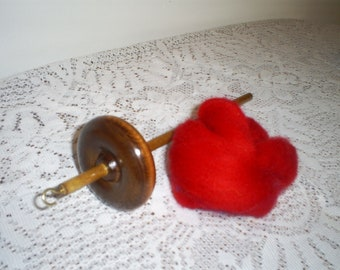 "Free Shipping 14"" Top Whorl Drop Spindle Notched  And Red Wool Roving Kit For Hand Spinning Yarn"