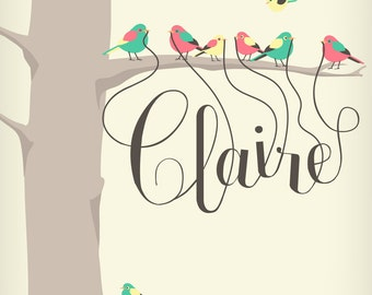11 X 14 Personalized children's art print featuring your childs name dangling from the beaks of tiny birds.