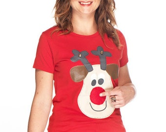 Ladies Rudolph Christmas t-shirt with squeaky nose, bells