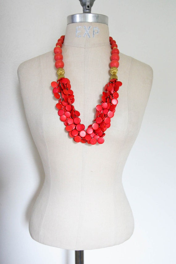 Reserved Stunning Red & Gold Vintage Necklace