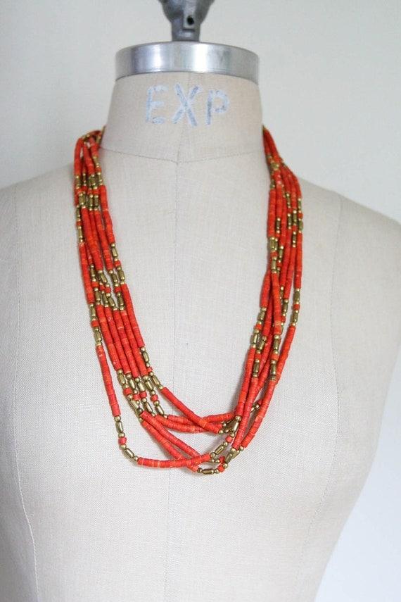Extra Long 3 Strand Beads & Brass Necklace