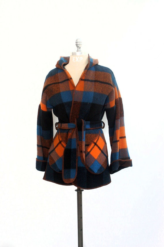 Belted Plaid Wool Wrap - Jacket