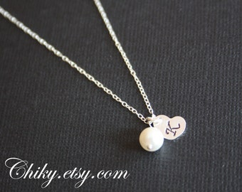 Lovely Initial Heart  Necklace with Pearl - STERLING SILVER, Custom Letter ,sweet birthday gift, Valentine gift for her,  personalized gift