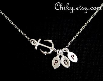 Anchor  Sideways Necklace with Three initial leaves - SILVER , sailors anchor ,Family initial , Mother's Day , birthday gift , for her , mom