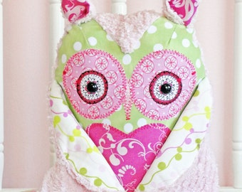 PETITE - Girly Pink Stuffed Owl Pillow Friend by BWinks  - Owl Pillow - Plush Owl Decor - LAST ONE