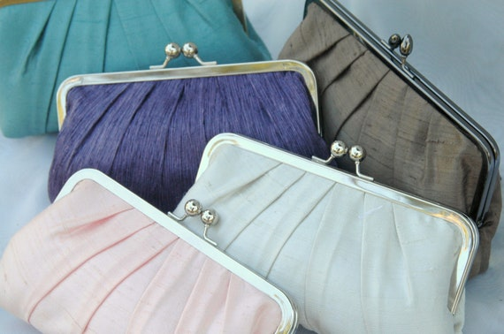 Bridesmaid Clutch, Wedding Clutch, Bridal Purse, Formal Purse (CHOOSE YOUR COLOR) {Precious Pleat Kisslock}