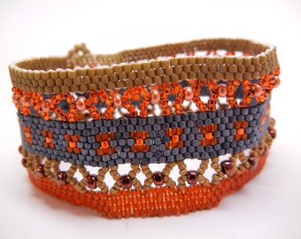 Peyote Stitch Tapestry Cuff Bracelet