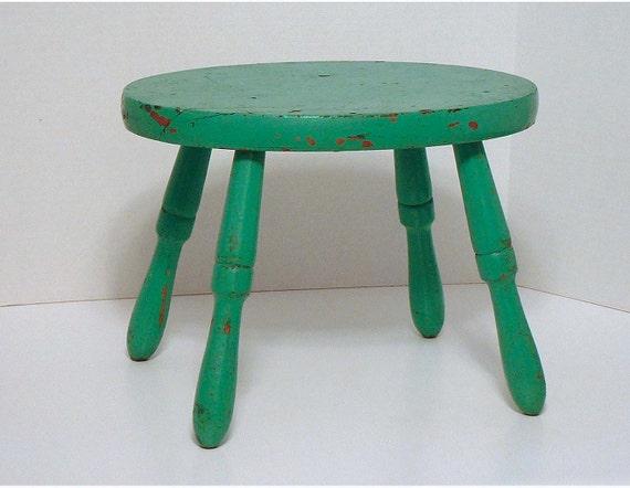 Vintage Wood Stool - Seafoam Green