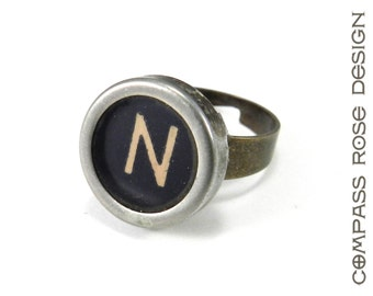 Initial Ring - Typewriter Key Ring - Letter N Ring Name Ring - Custom Initial Ring - Brass Adjustable Ring