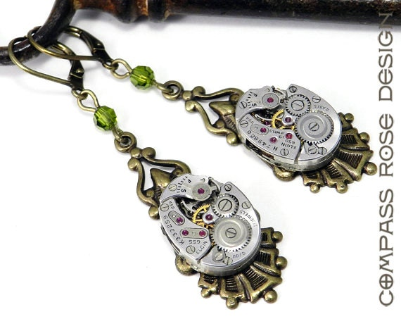 Steampunk Jewelry Vintage Watch Movement Earrings 17 Jewel Elgin Watches with Olive Green Swarovski Crystal Handmade by Compass Rose Design