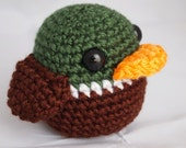 Crochet Amigurumi Baby Mallard Duck Rattle Toy-Great for a baby shower diaper cake topper, boy, hunter or outdoorsman