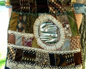 Necktie Patchwork Handbag, Hand Embroidery, Vintage Neckties/ Lace, Milagro, Boho /Hippie Style, OOAK, Patchwork Handbag