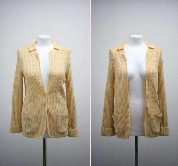 1970s vintage Buttercup Yellow ribbed knit cardigan sweater