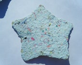 Set of FOUR Rough Edge Handmade Confetti Paper Stars, scrapbooking, funky shape, color, texture. RECYCLED, UPCYCLED.