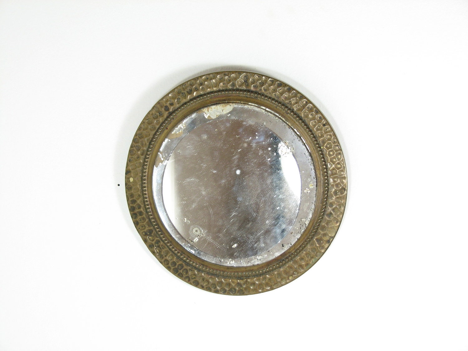 Vintage small round wall mirror beveled hammered metal aged for Small wall mirrors