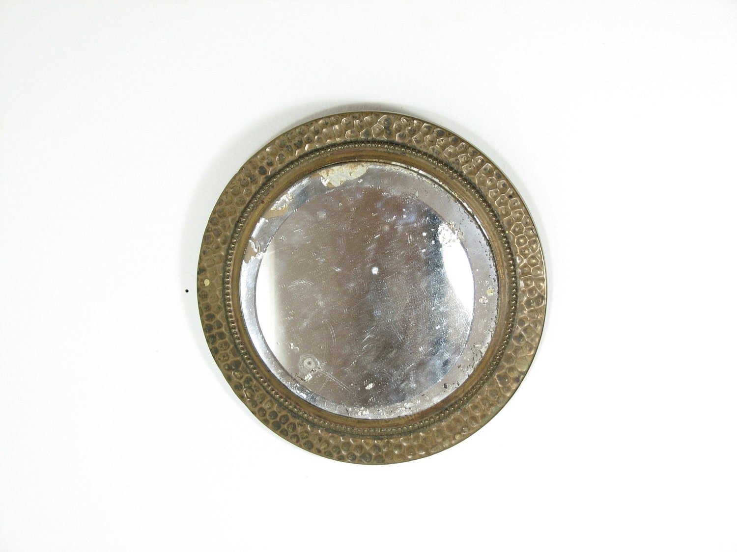 Vintage Small Round Wall Mirror Beveled Hammered Metal Aged