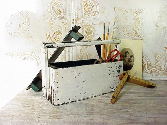 Vintage Chippy White Primitive Wood Supply Box