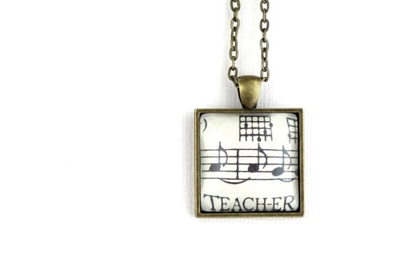 Back to school gift for teacher.  Square vintage style pendant necklace made with vintage sheet music under glass