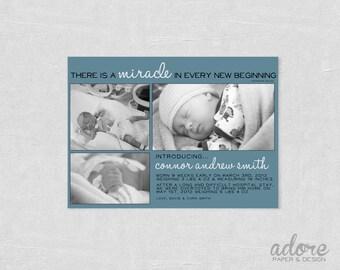 Preemie Baby Birth Announcement - CHOOSE YOUR COLORS - Printable Digital File.