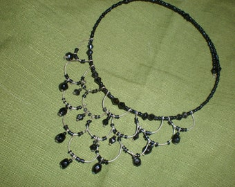 Gothic French Mourning Jet Beaded Choker Black Hand Beaded Wire Bib Necklace/Choker- Antique