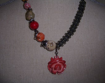 Cabbage Rose...Bead and Button Necklace