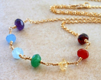 Chakra Multi Gemstones Wire Wrapped Chain Necklace in Gold Filled