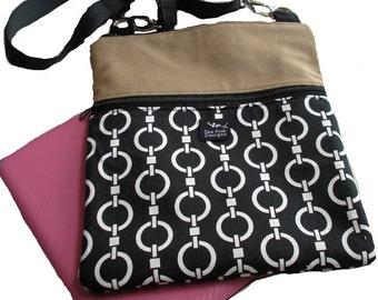 Geometric Circles Links Black White Khaki Fabric Ipad Kindle Nook Sling Sleeve Pouch Passport Bag Messenger Linked