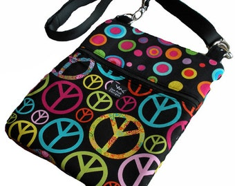 Peace Signs Polka Dots Funky Retro Flowers Fabric iPad Kindle Nook E Reader Passport Travel Messenger Bag Sling Washable