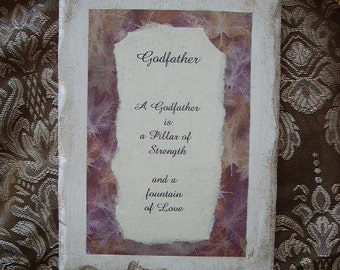 Godfather Gift Shabby Vintage Look Plaque with Inspiration for Godfather