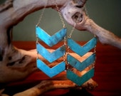 Triple Chevron Patina Earrings