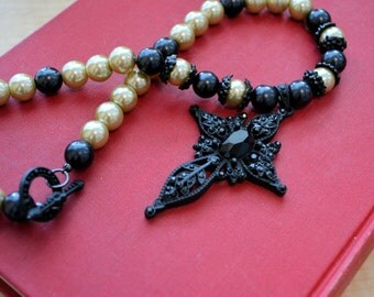 Black Cross and Pearl Necklace