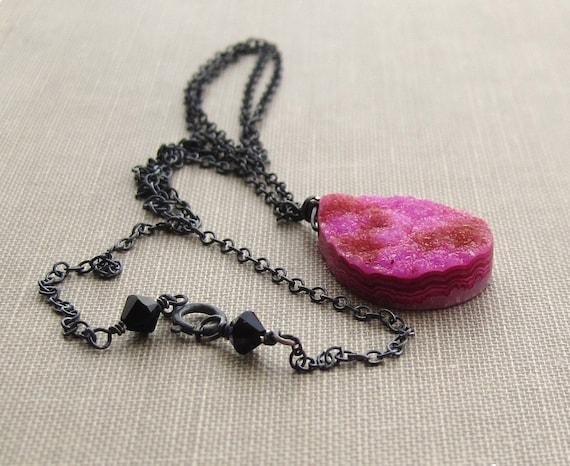 Neon Pink Druzy Teardrop on Black Oxidized Sterling Silver Chain Necklace