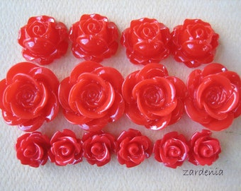 14PCS - Mixed Medley Rose Flower Cabochons - Red - Findings by ZARDENIA