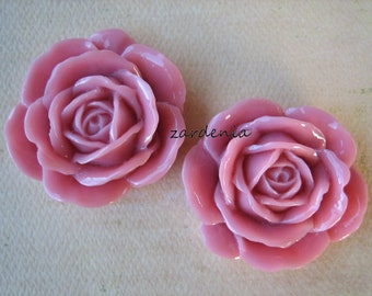 2PCS - Pink - Rose Cabochons - 38mm - Glossy Finish - Great for Rings and Necklaces - Cabochons by ZARDENIA