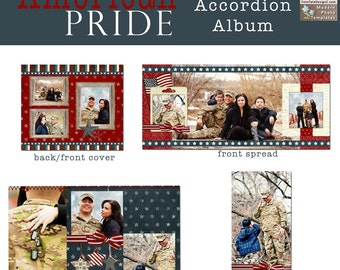 American Pride 4x8 Accordion Album- custom photo templates for photographers on MPixPro Specs