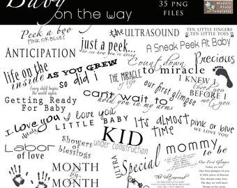 INSTANT DOWNLOAD Baby On The Way MATERNITY Word Art Collection - 35 png images