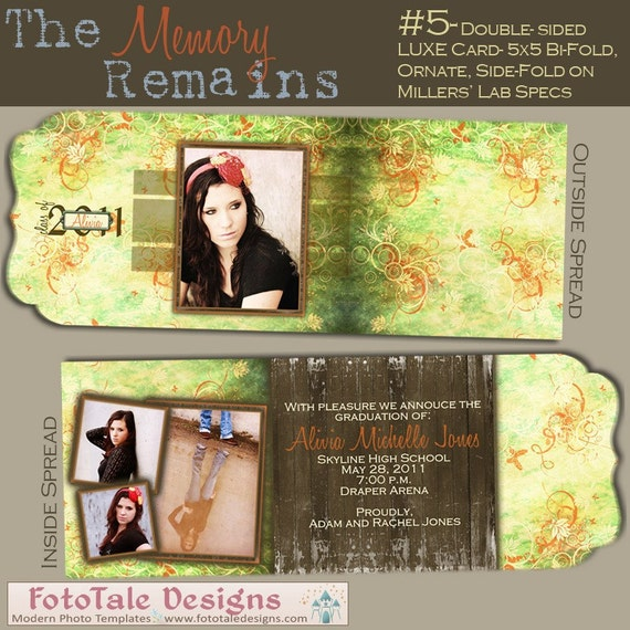 The Memory Remains Senior Graduation Folded LUXE Announcement No. 5- custom photo templates for photographers on Miller's Lab Specs